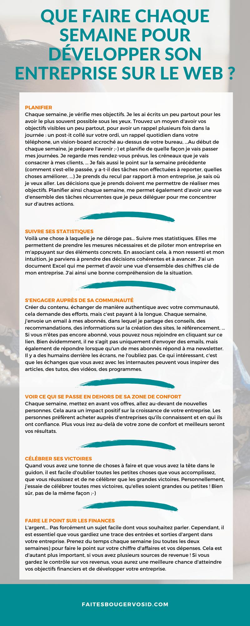 Je propose de partager avec vous ce que je fais chaque semaine (en plus du travail réalisé pour mes clients) pour développer mon entreprise.